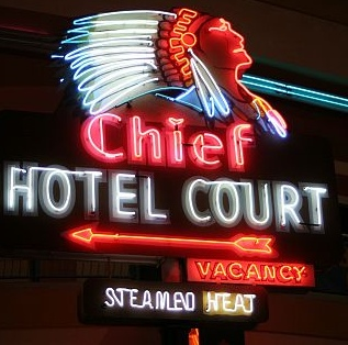 Chief Hotel Court sign from the Las Vegas Neon Muesum