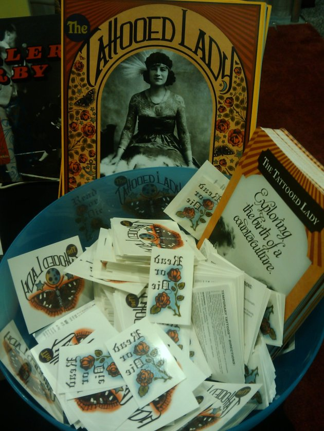 """Tattooed Librarian"" display, with the very popular faux tattoos!"
